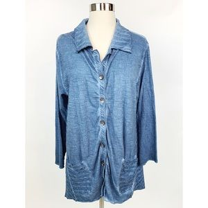 PARSLEY SAGE Chambray Blue Tunic Top Lagenlook M